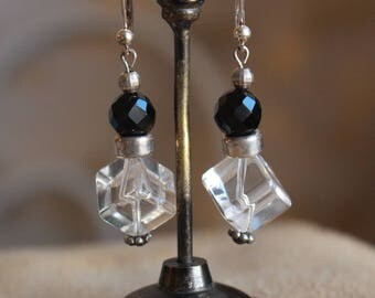 Black onyx and quartz earrings