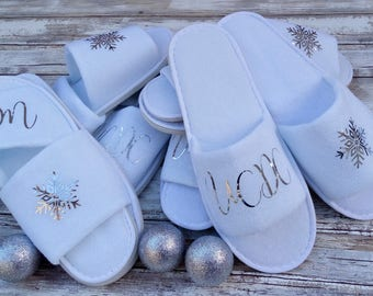 Customized Slippers with Snowflake-Silver Lettering, Personalized Birthday Gift Slippers, Custom Bridesmaid Slippers, Bridal Shower Slippers