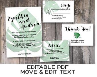 Tropical wedding invitation editable Monstera wedding invitation template Green leaves wedding invite printable Greenery Botanical - DIGITAL