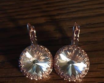 Rose Gold Crown Rivoli Earrings