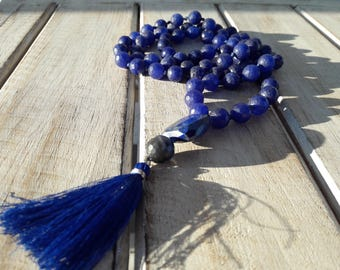 Real stone necklace, crystal necklace, Mala style necklace, lapis lazuli necklace, bead necklace, tassel, spiritual jewel