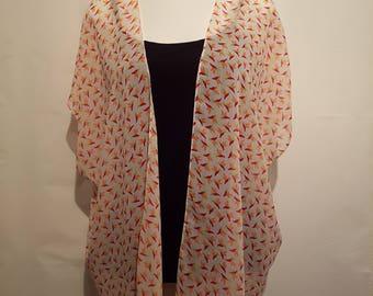 Handmade Chiffon Kimono - White / Bird Print - Fits to Size 22 | Kimono Jacket | Kimono Top | Kimono Dress | Kimono Robe | Kimono Cardigan