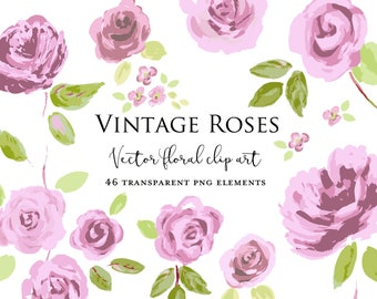 Vintage Roses Vector Clipart Commercial Use Instant Download