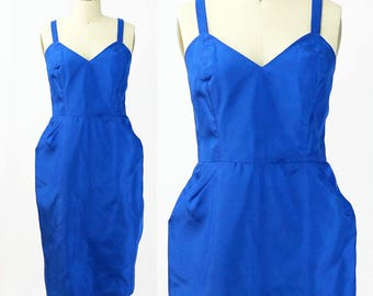 Vintage 1960s Cobalt Blue Peg Dress / Size 8