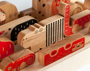 MOOMBASA. Wooden puzzle. Figures of animals.