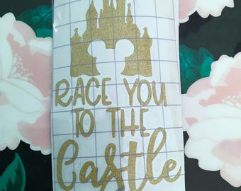 Race You To The Castle Glitter Vinyl Decal
