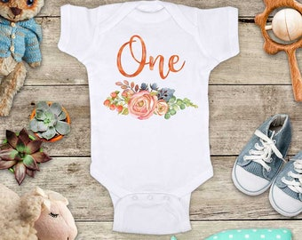 Birthday One Flowers Watercolor Boho First or Second Third birthday Girl Baby bodysuit or Baby T-Shirt - cute birthday baby gift