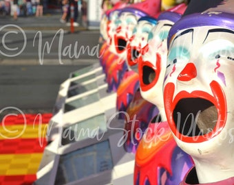 Photo of laughing clowns | Stock photography | Blog photography | Photo of a fair | Childhood stock photos | Mummy blog stock photos