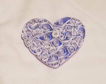 Quilled Valentine Heart Magnet Mounted on Wood