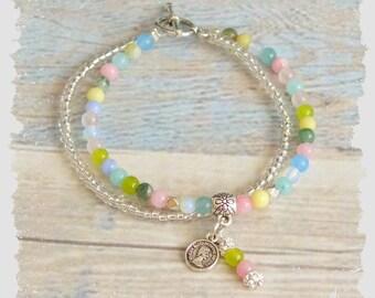 Pink quartz Blue Jade Opalite Yellow Jade Green Korean Jade Indian Agate Healing Natural Stones bracelet Jewelry Women's Gift for her