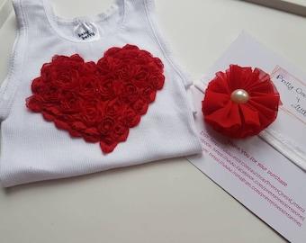 Embellished singlet etsy valentines day top girls love heart cake smash baby girl size 00 singlet hand embellished flower negle Gallery
