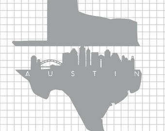 State and City Vinyl Decal (Austin TX)