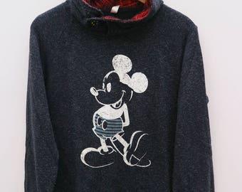 MICKEY MOUSE Walt Disney Cartoon Animation Black Vintage Hoodies Sweater Sweatshirt Size M