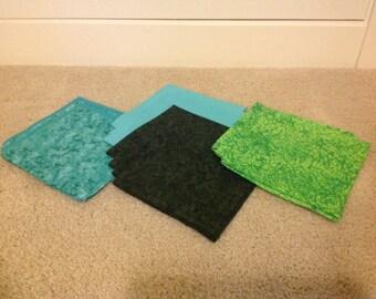Handmade fabric napkins, sets of 4
