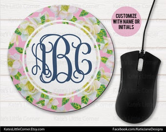 Custom Mouse Pad, Monogram Mouse Pad, Watercolor Mousepad, Personalized, Round Mousepad, Personalized, Monogram Mousepad, Office Gift