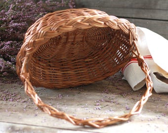 French vintage basket of the bride. French wicker basket. French wedding basket. Bohemian basket. French sewing basket. French basket.