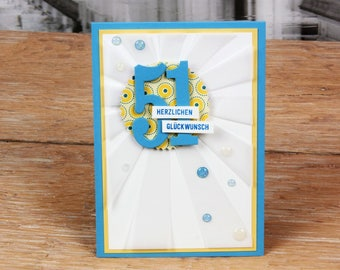 Birthday card Sun Blue yellow, with envelope, handmade
