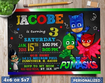 Pj Masks Birthday, Pj Masks Invitations, Pj Masks Party, Pj Masks Birthday Invitation, Invite for boy, Pj Masks Favor Tags, Invite for girl.
