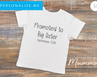 Promoted to Big Sister/Brother, Pregnancy Announcement, Custom Children's T-Shirt, Personalised Infant T-Shirt, Custom Baby Onesie