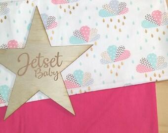 Pink Cloud Pram / Bassinet Blanket