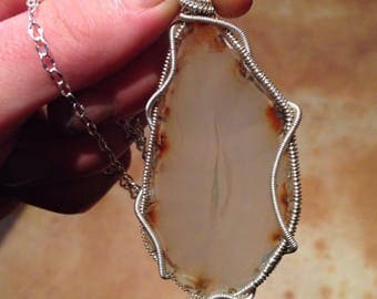 Agate slice wire-wrapped pendant