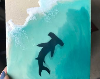 Mini Realistic Beach Painting with Shark- 4X4 Wood Panel