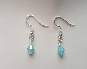Baby Blue Drop earrings | Subtle | Embellished Hook | Beaded