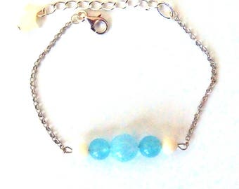 Aquamarine, Pearl and silver bracelet