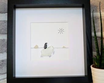 Penguin on an iceberg pebble and sea glass art