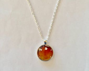 Red, Orange and Yellow with Gold Orb Necklace