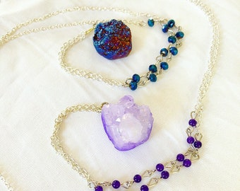 Deep sea blue crystal gypsy necklace