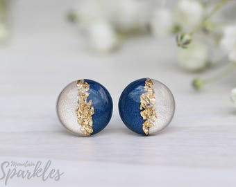 Beige Navy Blue Gold Stud Earrings, Hypoallergenic, Minimalist Earrings, Gift mature, Bridesmaid Gift, Simple Earrings, Wedding earrings
