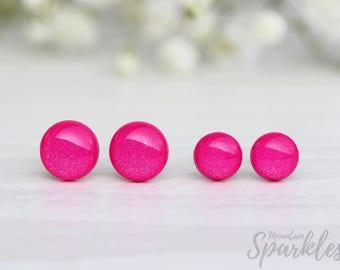 Hot Pink Stud Earrings, Hypoallergenic, Pink  Studs, Pink Earrings, Simple Stud Earrings, Everyday earrings minimalist, Teenage girl gifts