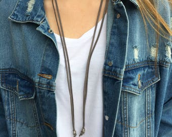 Long, leather choker necklace