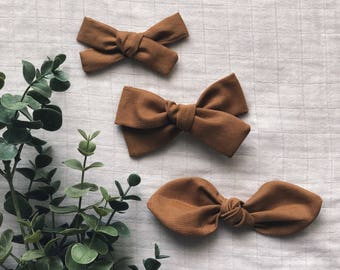 Camel Classic Hand Tied Bow Bubble Knot Bows Nylon or Clip