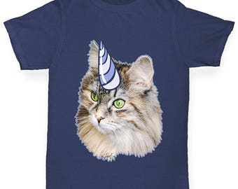 Boys Funny T Shirt Unicorn Cat Boy's T-Shirt