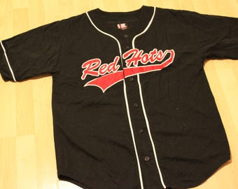 Rare Men's Vintage Red Hot Chili Peppers Baseball Jersey//Shirt//Size Large//Black, Red, White//Official Trademarked//Anthony Kiedis//Flea//