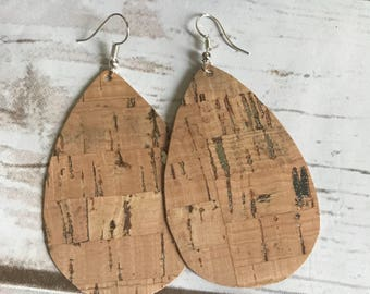 Silver Metallic Cork Leather Teardrop Leather Earrings
