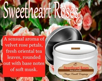 Sweetheart Roses Scented Soy Candle Tin (8 oz.)