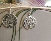Tree of Life Dangle Earrings in Pure Sterling Silver.
