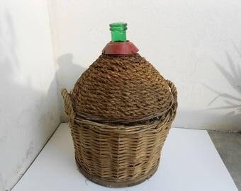 Italian glass, wine holder, large size, with straw, basket