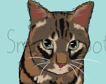 Tabby Cat Digital Art Print