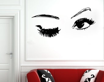 Wall Decal Window Sticker Beauty Salon Woman Face Eyelashes Lashes Eyebrows Brows t30