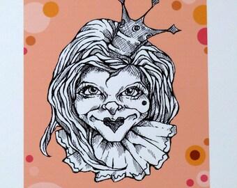 Art print from original black ink drawing by Renata Lombard-digitally added