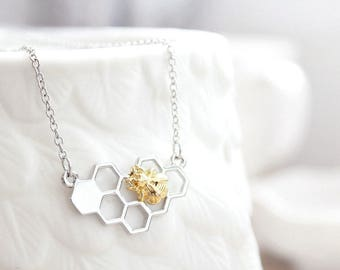 Bee On A Honeycomb Necklace