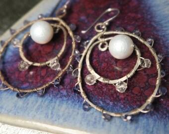 Pearl double ring earrings