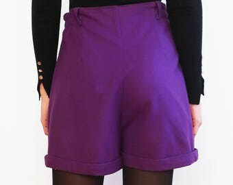 Vintage 1980 80s Wool-blend Purple High Waisted Shorts Size M