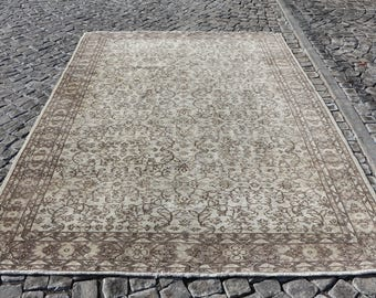 Turkish Rug Free Shipping Large Area Rug Ethnic Tribal Rug 6.7 x 9.7 ft. Handknotted Floor Rug Bohemian Oushak Rug Rustic Rug Boho Rug MB101