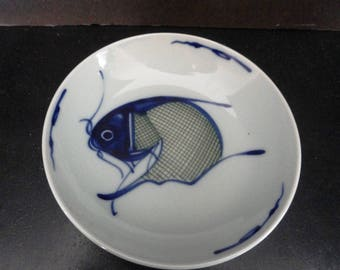 Fine Antique Chinese Porcelain Cobalt Blue Koi Fish Plate Low Bowl Art #1 of 3