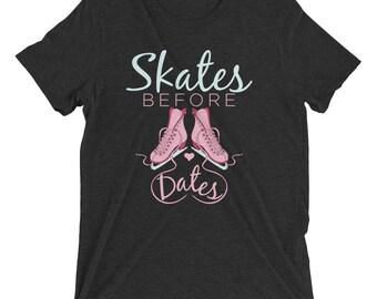 Ice Skating Women Girls Skates Before Dates Short sleeve t-shirt